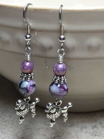Beaded Poodle Earrings