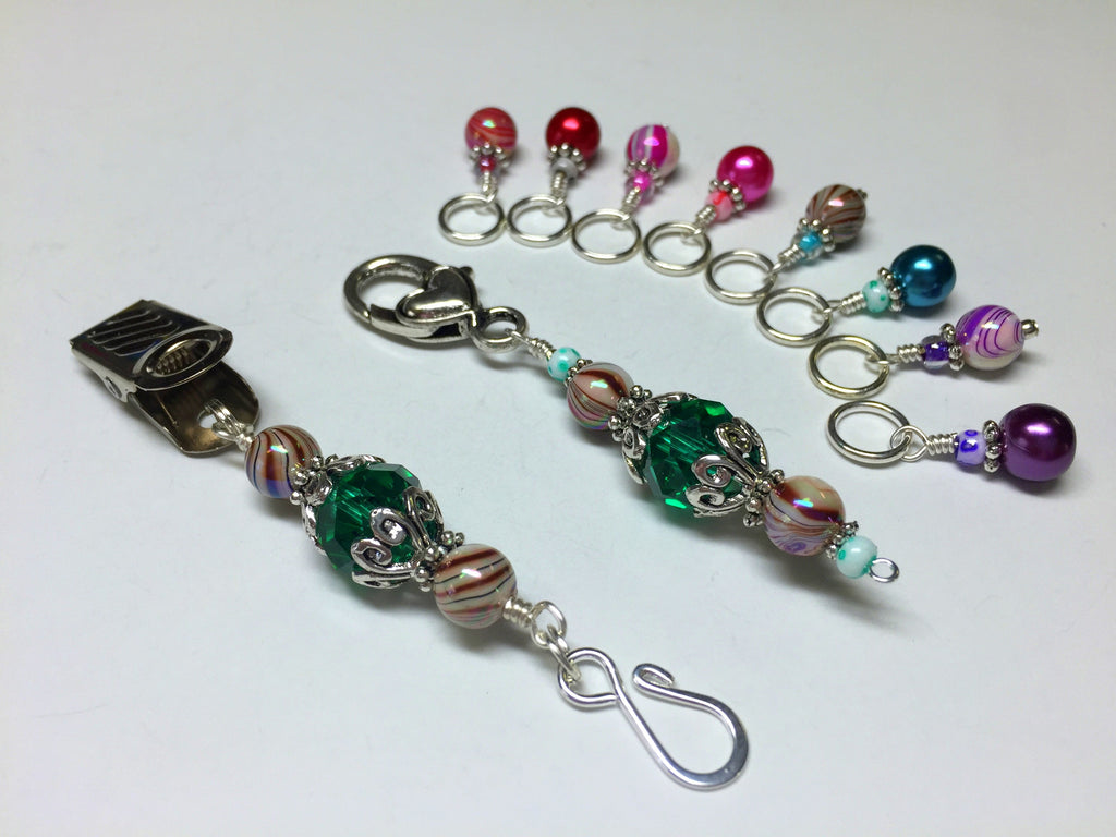 Portuguese Knitting Pin and Stitch Marker Gift Set- Mixed Colors , Portugese Knitting Pin - Jill's Beaded Knit Bits, Jill's Beaded Knit Bits  - 1