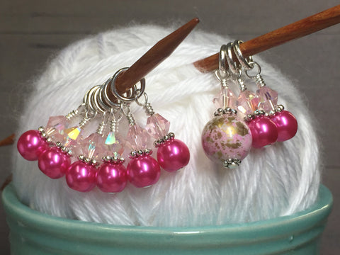Pretty Pink Splash Stitch Marker Set , Stitch Markers - Jill's Beaded Knit Bits, Jill's Beaded Knit Bits  - 4