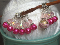 Pretty Pink Splash Stitch Marker Set , Stitch Markers - Jill's Beaded Knit Bits, Jill's Beaded Knit Bits  - 6