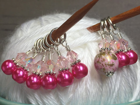 Pretty Pink Splash Stitch Marker Set , Stitch Markers - Jill's Beaded Knit Bits, Jill's Beaded Knit Bits  - 2