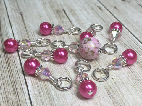 Pretty Pink Splash Stitch Marker Set , Stitch Markers - Jill's Beaded Knit Bits, Jill's Beaded Knit Bits  - 7