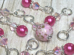 Pretty Pink Splash Stitch Marker Set , Stitch Markers - Jill's Beaded Knit Bits, Jill's Beaded Knit Bits  - 3