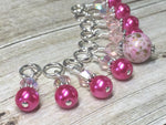 Pretty Pink Splash Stitch Marker Set , Stitch Markers - Jill's Beaded Knit Bits, Jill's Beaded Knit Bits  - 8