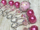 Pretty Pink Splash Stitch Marker Set , Stitch Markers - Jill's Beaded Knit Bits, Jill's Beaded Knit Bits  - 1