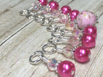 Pretty Pink Splash Stitch Marker Set , Stitch Markers - Jill's Beaded Knit Bits, Jill's Beaded Knit Bits  - 9
