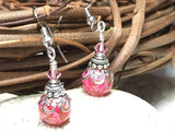 Pretty in Pink Glass Dangle Earrings , jewelry - Jill's Beaded Knit Bits, Jill's Beaded Knit Bits  - 2