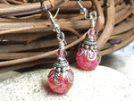 Pretty in Pink Glass Dangle Earrings , jewelry - Jill's Beaded Knit Bits, Jill's Beaded Knit Bits  - 3
