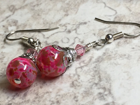 Pretty in Pink Glass Dangle Earrings , jewelry - Jill's Beaded Knit Bits, Jill's Beaded Knit Bits  - 4