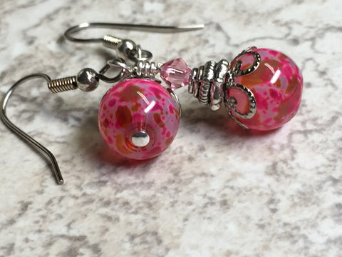 Pretty in Pink Glass Dangle Earrings , jewelry - Jill's Beaded Knit Bits, Jill's Beaded Knit Bits  - 5