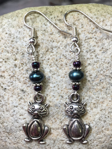 Pudgy Belly Cat Beaded Dangle Earrings , Jewelry - Jill's Beaded Knit Bits, Jill's Beaded Knit Bits  - 3