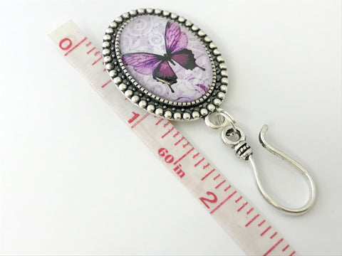 MAGNETIC Purple Butterfly Portuguese Knitting Pin