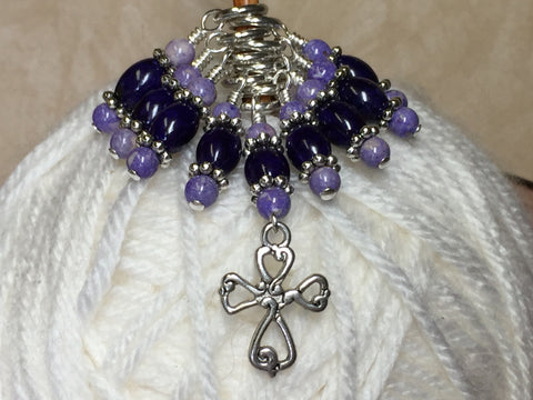 Cross Knitting Stitch Marker Set- Purple Riverstone , Stitch Markers - Jill's Beaded Knit Bits, Jill's Beaded Knit Bits  - 1