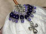 Cross Knitting Stitch Marker Set- Purple Riverstone , Stitch Markers - Jill's Beaded Knit Bits, Jill's Beaded Knit Bits  - 5