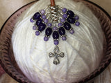 Cross Knitting Stitch Marker Set- Purple Riverstone , Stitch Markers - Jill's Beaded Knit Bits, Jill's Beaded Knit Bits  - 3