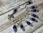 Cross Knitting Stitch Marker Set- Purple Riverstone , Stitch Markers - Jill's Beaded Knit Bits, Jill's Beaded Knit Bits  - 7
