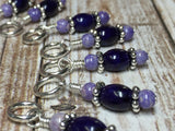 Cross Knitting Stitch Marker Set- Purple Riverstone , Stitch Markers - Jill's Beaded Knit Bits, Jill's Beaded Knit Bits  - 6