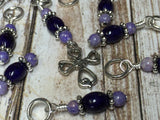 Cross Knitting Stitch Marker Set- Purple Riverstone , Stitch Markers - Jill's Beaded Knit Bits, Jill's Beaded Knit Bits  - 4