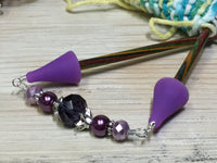 Crystal Knitting Needle Point Protector Jewelry- Purple , stitch holder - Jill's Beaded Knit Bits, Jill's Beaded Knit Bits  - 7