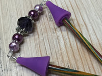 Crystal Knitting Needle Point Protector Jewelry- Purple , stitch holder - Jill's Beaded Knit Bits, Jill's Beaded Knit Bits  - 1