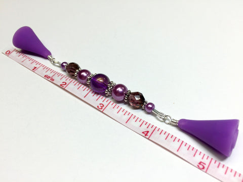 Purple Glitter Beaded Point Protector Tip Cover , stitch holder - Jill's Beaded Knit Bits, Jill's Beaded Knit Bits  - 4