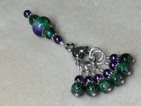 Purple & Green Stitch Marker Set with Clip Holder , Stitch Markers - Jill's Beaded Knit Bits, Jill's Beaded Knit Bits  - 3