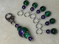 Purple & Green Stitch Marker Set with Clip Holder , Stitch Markers - Jill's Beaded Knit Bits, Jill's Beaded Knit Bits  - 6