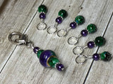 Purple & Green Stitch Marker Set with Clip Holder , Stitch Markers - Jill's Beaded Knit Bits, Jill's Beaded Knit Bits  - 5