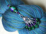 Purple & Green Stitch Marker Set with Clip Holder , Stitch Markers - Jill's Beaded Knit Bits, Jill's Beaded Knit Bits  - 2