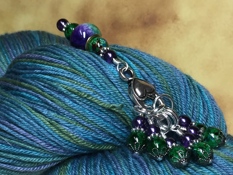 Purple & Green Stitch Marker Set with Clip Holder