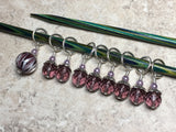 Purple Lamp Work Beaded Stitch Marker Set , Stitch Markers - Jill's Beaded Knit Bits, Jill's Beaded Knit Bits  - 1