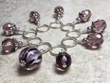 Purple Lamp Work Beaded Stitch Marker Set , Stitch Markers - Jill's Beaded Knit Bits, Jill's Beaded Knit Bits  - 5