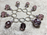 Purple Lamp Work Beaded Stitch Marker Set , Stitch Markers - Jill's Beaded Knit Bits, Jill's Beaded Knit Bits  - 6