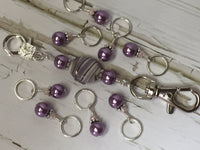KnittingBag Stitch Marker Lanyard- PurpleStripes , Stitch Markers - Jill's Beaded Knit Bits, Jill's Beaded Knit Bits  - 10