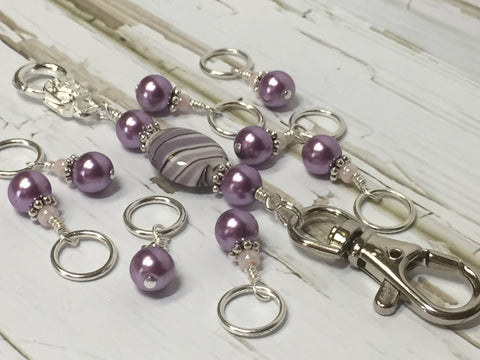 KnittingBag Stitch Marker Lanyard- PurpleStripes , Stitch Markers - Jill's Beaded Knit Bits, Jill's Beaded Knit Bits  - 6