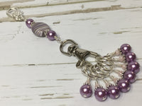 KnittingBag Stitch Marker Lanyard- PurpleStripes , Stitch Markers - Jill's Beaded Knit Bits, Jill's Beaded Knit Bits  - 2