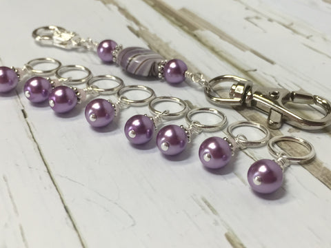KnittingBag Stitch Marker Lanyard- PurpleStripes , Stitch Markers - Jill's Beaded Knit Bits, Jill's Beaded Knit Bits  - 3