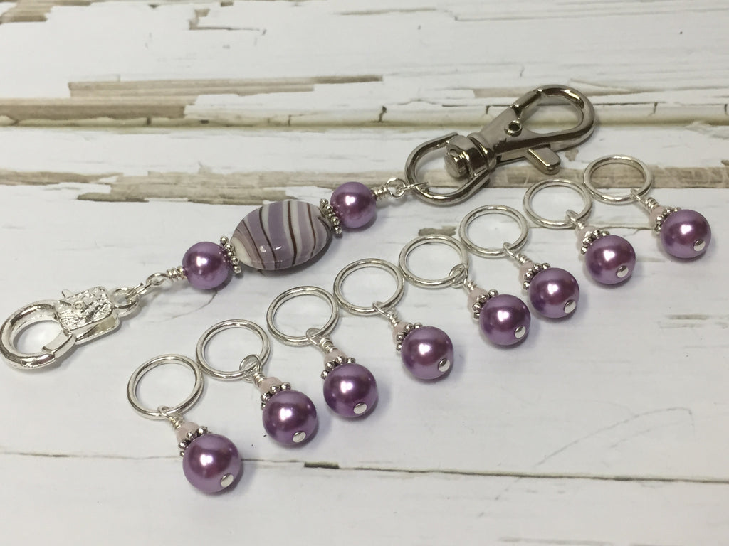 KnittingBag Stitch Marker Lanyard- PurpleStripes , Stitch Markers - Jill's Beaded Knit Bits, Jill's Beaded Knit Bits  - 1