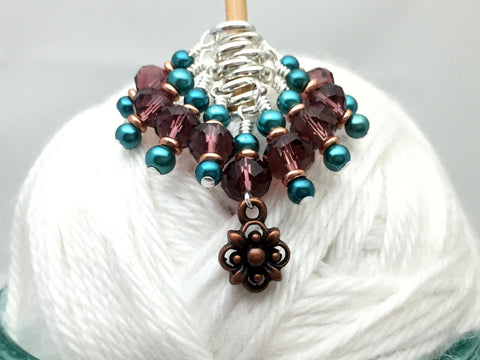 Copper Flower Snag Free Stitch Marker Set- Purple Teal , Stitch Markers - Jill's Beaded Knit Bits, Jill's Beaded Knit Bits  - 2