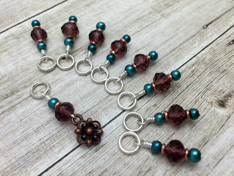 Copper Flower Snag Free Stitch Marker Set- Purple Teal , Stitch Markers - Jill's Beaded Knit Bits, Jill's Beaded Knit Bits  - 6