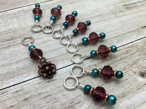 Copper Flower Snag Free Stitch Marker Set- Purple Teal , Stitch Markers - Jill's Beaded Knit Bits, Jill's Beaded Knit Bits  - 4