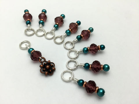 Copper Flower Snag Free Stitch Marker Set- Purple Teal , Stitch Markers - Jill's Beaded Knit Bits, Jill's Beaded Knit Bits  - 5