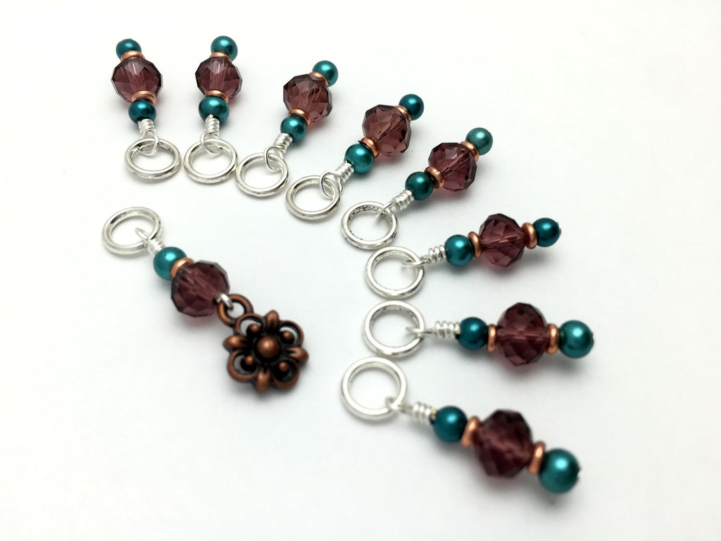Copper Flower Snag Free Stitch Marker Set- Purple Teal , Stitch Markers - Jill's Beaded Knit Bits, Jill's Beaded Knit Bits  - 1
