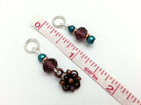Copper Flower Snag Free Stitch Marker Set- Purple Teal , Stitch Markers - Jill's Beaded Knit Bits, Jill's Beaded Knit Bits  - 3