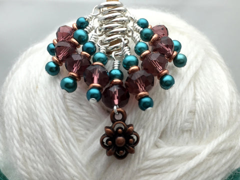 Copper Flower Snag Free Stitch Marker Set- Purple Teal , Stitch Markers - Jill's Beaded Knit Bits, Jill's Beaded Knit Bits  - 7