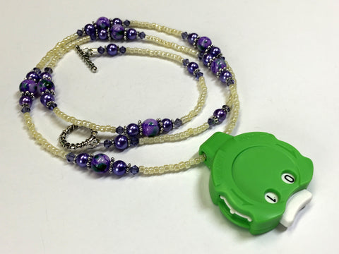 Purple Beaded Row Counting Necklace for Knitting or Crochet , jewelry - Jill's Beaded Knit Bits, Jill's Beaded Knit Bits  - 6