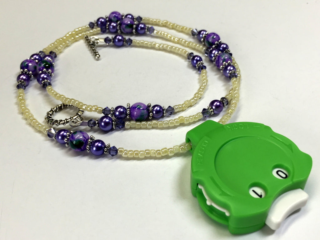Purple Beaded Row Counting Necklace for Knitting or Crochet , jewelry - Jill's Beaded Knit Bits, Jill's Beaded Knit Bits  - 1