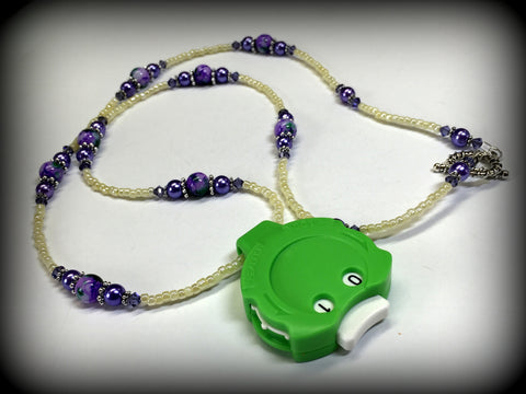 Purple Beaded Row Counting Necklace for Knitting or Crochet , jewelry - Jill's Beaded Knit Bits, Jill's Beaded Knit Bits  - 2
