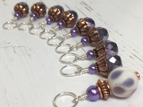 Purple Copper Stitch Marker Set