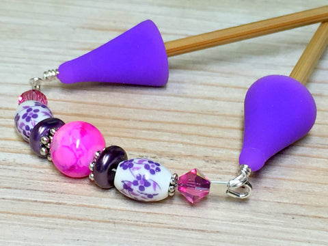 Knitting Needle Point Protector Jewelry- Purple Flowers , stitch holder - Jill's Beaded Knit Bits, Jill's Beaded Knit Bits  - 2